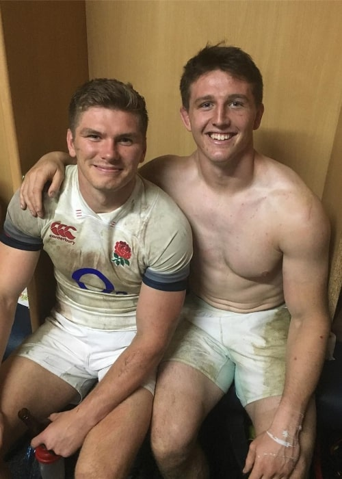 Tom Curry as seen in a picture taken with his teammate Owen Farrell in June 2018