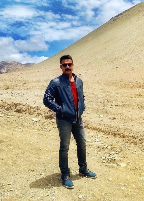 Tovino Thomas as seen in a picture taken at Magnetic Hill in Ladakh in July 2019
