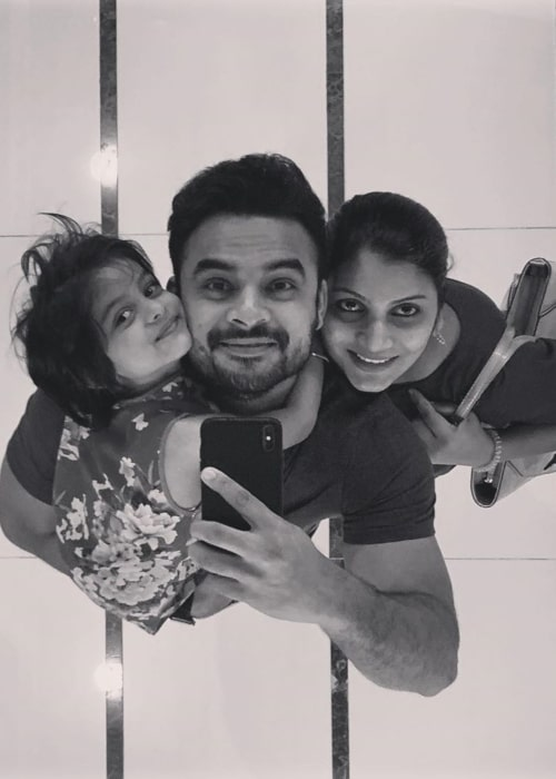 Tovino Thomas as seen in a selfie taken with his wife Lidiya and daughter Izza Tovino in Guangzhou, China in September 2019