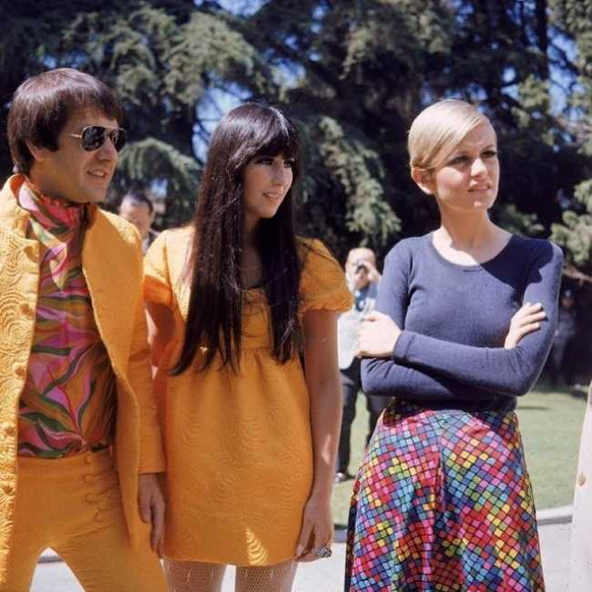 Twiggy pictured with Sonny and Cher in Los Angeles in 1967