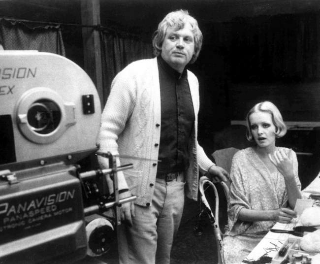 Twiggy with director Ken Russell on the set of their 1971 film The Boy Friend
