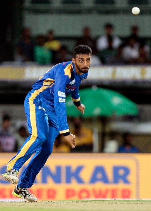 Varun Chakravarthy as seen in a picture taken just as he bowled