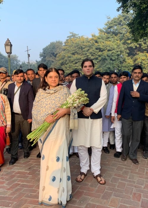 Varun Gandhi as seen in a picture with his mother Maneka Gandhi in Shanti Vana to pay tribute to his late. father Sanjay Gandhi on his 72nd death anniversary in December 2018