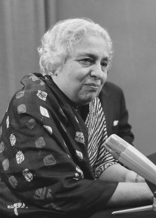 Vijaya Lakshmi Pandit as seen in a picture that was taken on November 10, 1956, during four-day visit to the Netherlands