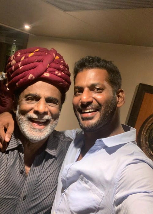 Vishal Krishna Reddy (Right) with his father as seen in June 2019