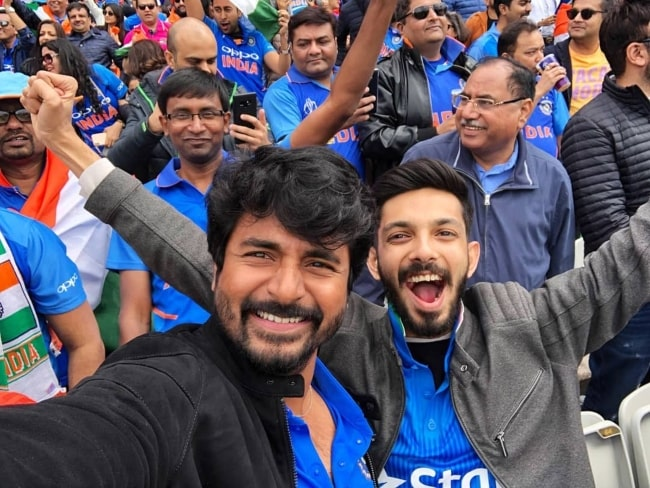sivakarthikeyan and Anirudh Ravichander as seen at Ind Vs Pak World Cup 2019