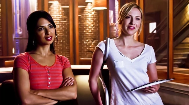 Aarti Mann (Left) as seen in a still from her appearance on the show 'Leverage' in 2012