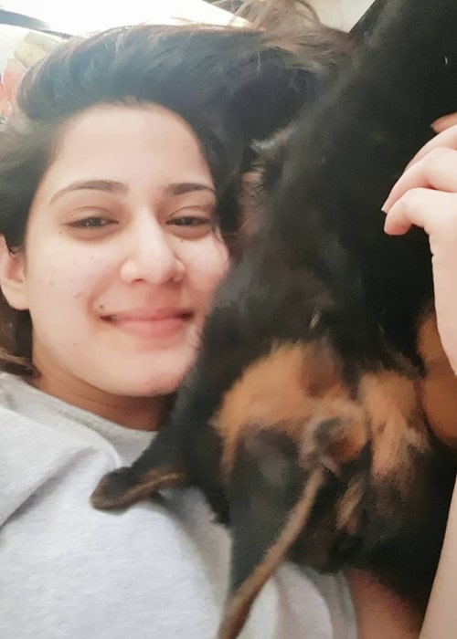 Aditi Rathore as seen in a selfie with her dog Jerry that was taken in December 2018