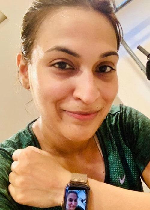 Aishwarya R. Dhanush in an Instagram selfie as seen in June 2019