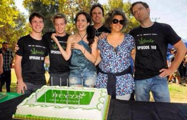 Alexander Gould as seen in a picture alongside his 'Weeds' family in July 2012