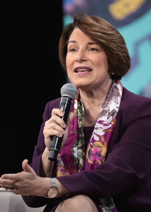 Amy Klobuchar speaking with attendees at the 2019 National Forum on Wages and Working People hosted by the Center for the American Progress Action Fund and the SEIU at the Enclave in Las Vegas, Nevada