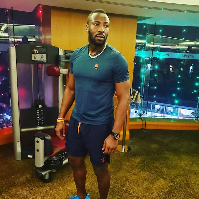 Andre Russell clicked inside the gym at Dhaka, Bangladesh in January 2020