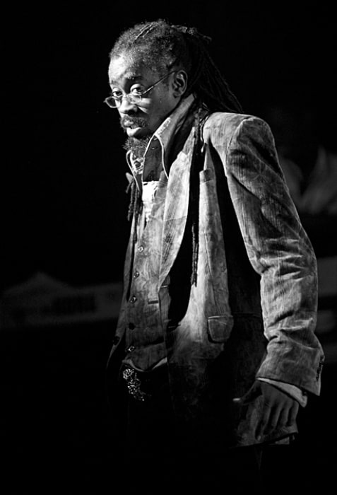 Beenie Man as seen in a black-and-white picture while performing during an event on August 10, 2008