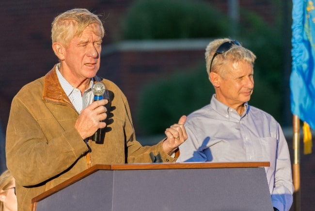Bill Weld (Left) and Gary Johnson at the first Libertarian Party political rally of the 2016 campaign season, for President and Vice-President, at the University of Nevada in Reno, Nevada in August 2016