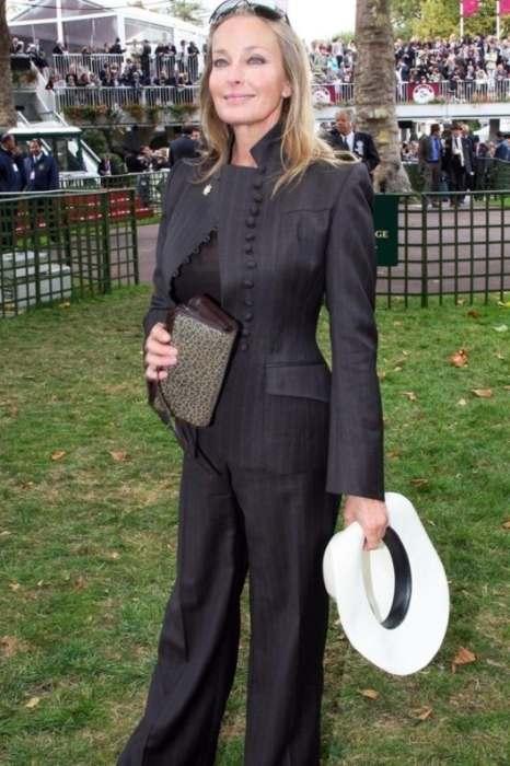Bo Derek seen wearing a Lloyd Klein ensemble at the Grand Prix de Paris