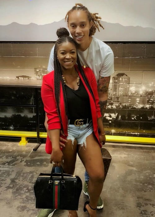 Brittney Griner with her wife as seen in September 2019