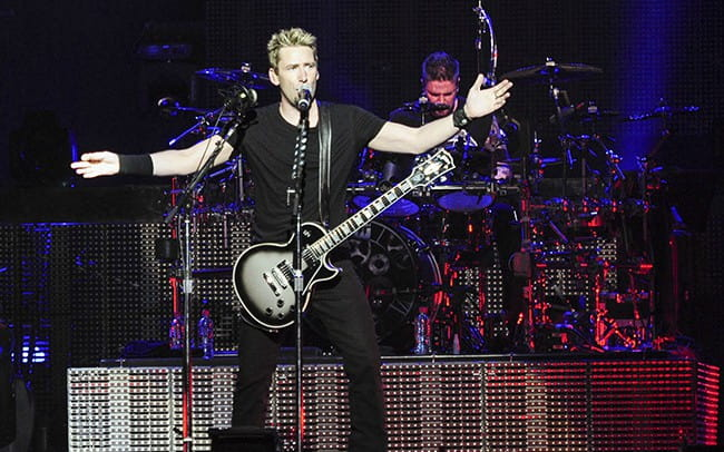 Chad Kroeger during a performance at Perth Arena in November 2012