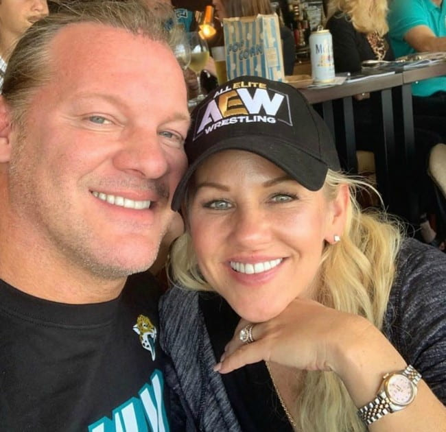 Chris Jericho and Jessica Lockhart in a selfie in December 2019