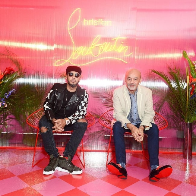 Christian Louboutin (Right) as seen while posing for a picture along with Swizz Beatz at Pérez Art Museum Miami in December 2018