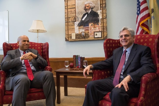 Cory Booker (Left) meeting Judge Garland in April 2016