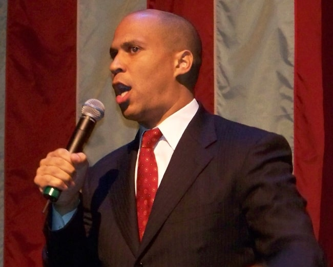 Cory Booker as seen while speaking at a Barack Obama campaign rally in Newark, New Jersey, United States in October 2007