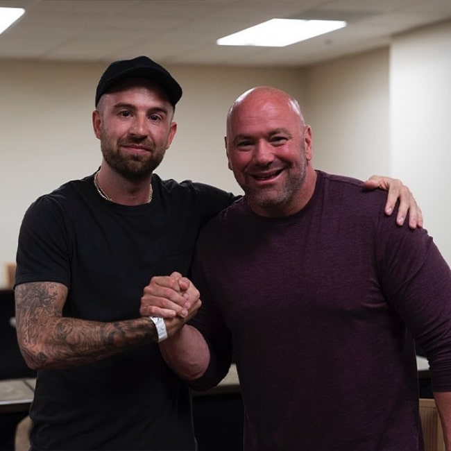 Dana White (Right) as seen while posing for a picture along with Chris 'Drama' Pfaff in August 2019