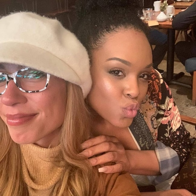 Demetria McKinney as seen in a selfie with fellow actress Abbey in December 2019