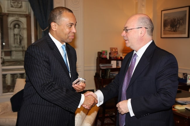 Deval Patrick (Left) as seen while meeting British politician Alistair Burt in London, England, United Kingdom in March 2011