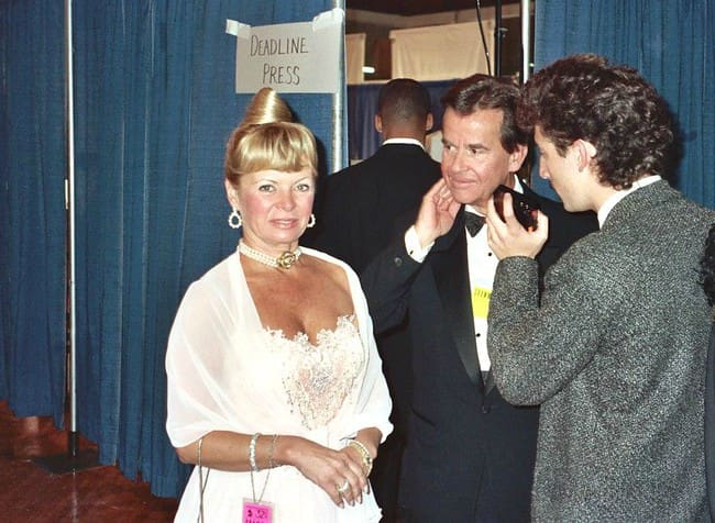 Dick Clark and Kari Wigton as seen in 1990