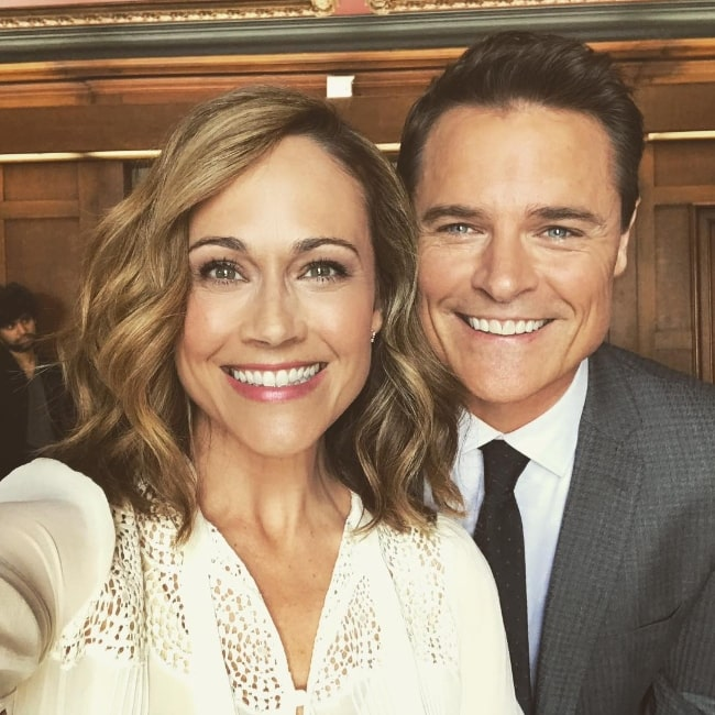 Dylan Neal as seen while smiling in a selfie taken by Nikki DeLoach in April 2018