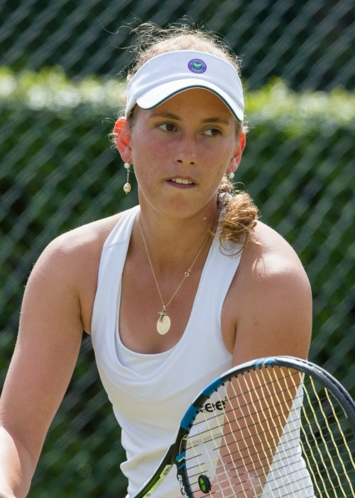 Elise Mertens competing in the first round of the 2015 Wimbledon Qualifying Tournament at the Bank of England Sports Grounds in Roehampton, England in June 2015