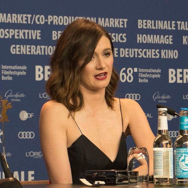 Emily Mortimer at the press conference of The Bookshop at the Berlinale in 2018