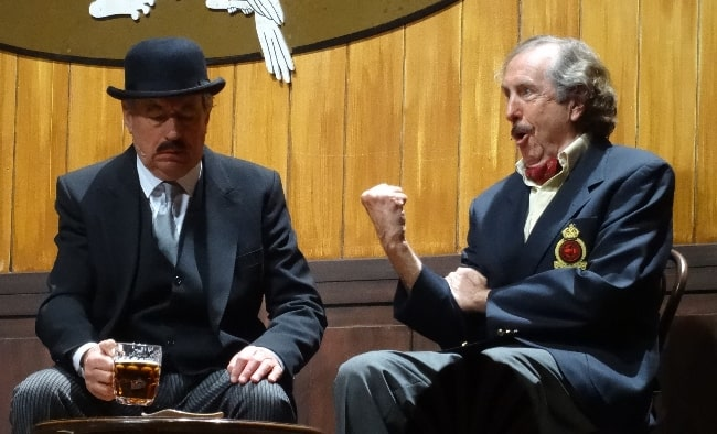 Eric Idle (Right) and Terry Jones as seen while performing the 'Nudge, Nudge' sketch during the Monty Python Live (Mostly) show in July 2014