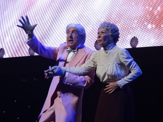 Eric Idle and Carol Cleveland performing the 'Galaxy Song' during the Monty Python Live (Mostly) show in July 2014