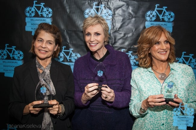 From Left to Right - Linda Hamilton, Jane Lynch, and Carol Leifer accepting their Willfilm Awards at the WYTHE Hotel in November 2016