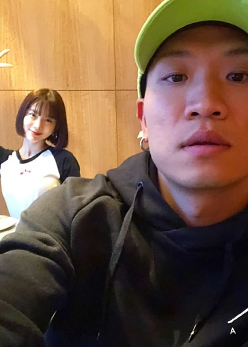 Gaeko as seen in a selfie with his wife Kim Soo-mi taken in May 2019