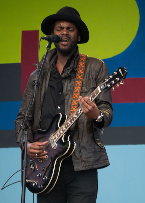 Gary Clark Jr. performing with his guitar at the 2014 Monterey Jazz Festival