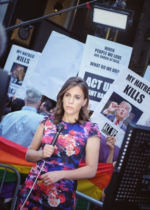 Hallie Jackson as seen in a picture taken while doing a live report in front of Trump Tower in New York City, NY during an anti-Trump protest on June 21, 2016