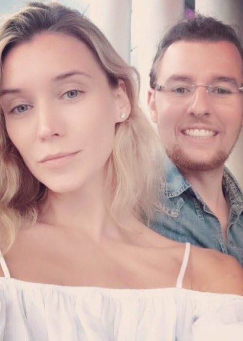 Inna Pilipenko as seen in a selfie taken with her beau Gleb V. Kozlov in Miami, Florida in May 2019