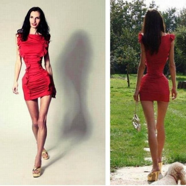 Ioana Spangenberg as seen in a picture of her that shows her unbelievably thin waist from the front and the back