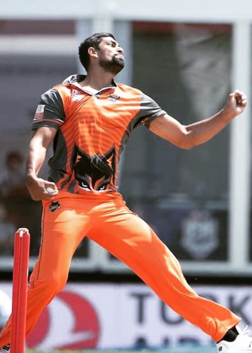 Ish Sodhi as seen in a picture captured while he bowled for the Brampton Wolves at the Global T20 Canada in 2019