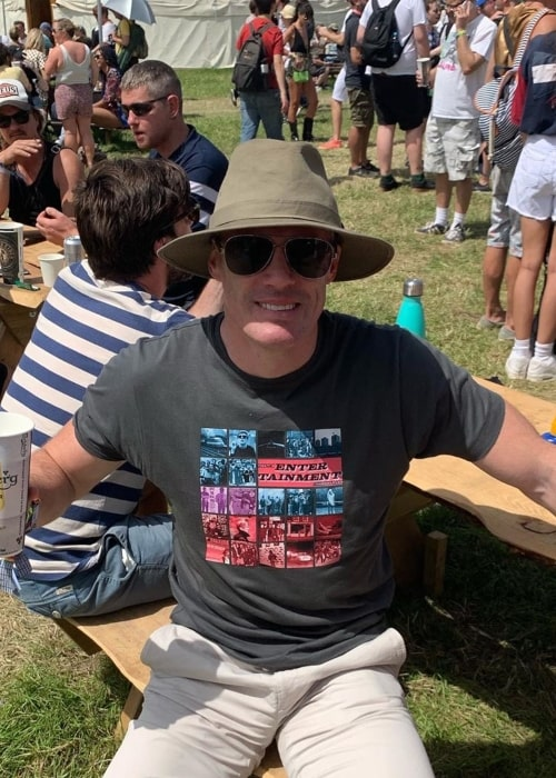 Jamie Carragher as seen in a picture taken at the Glastonbury Festival in June 2019