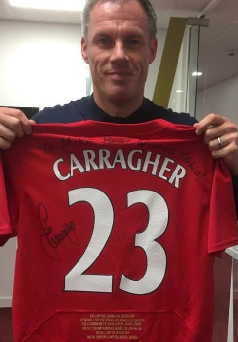Jamie Carragher as seen in a picture taken while holding his jersey in October 2019