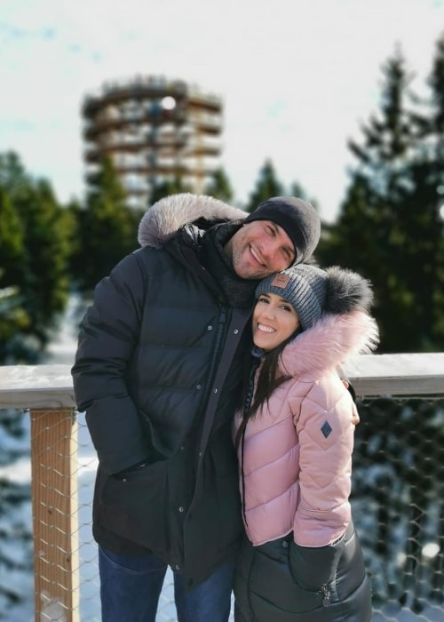 Janette Manrara as seen in a picture taken with husband Slovenian dancer and choreographer Aljaž Škorjanec in Rogla in December 2019