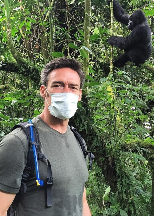 Jason Sehorn as seen in a picture taken at the Virunga National Park, DRC with a gorilla in the background in March 2016