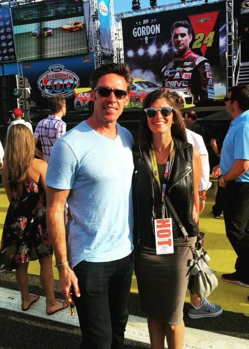 Jason Sehorn as seen in a picture taken with his wife Meghann Hessert Gunderman at the Homestead-Miami Speedway in Florida in November 2015