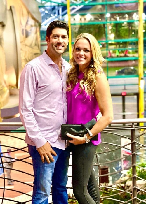 Jennie Finch with her husband as seen in October 2019