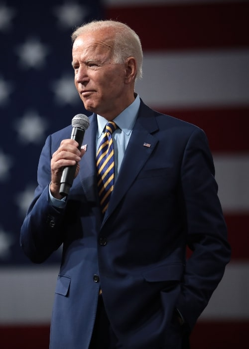 Joe Biden speaking with attendees at the Presidential Gun Sense Forum hosted by Everytown for Gun Safety and Moms Demand Action at the Iowa Events Center in Des Moines, Iowa in August 2019