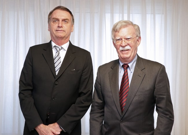 John Bolton (Right) as seen while posing for a picture along with the 38th president of Brazil Jair Bolsonaro in November 2018