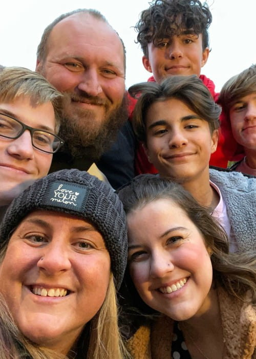 Kara Haueter in a selfie with her family as seen in November 2019